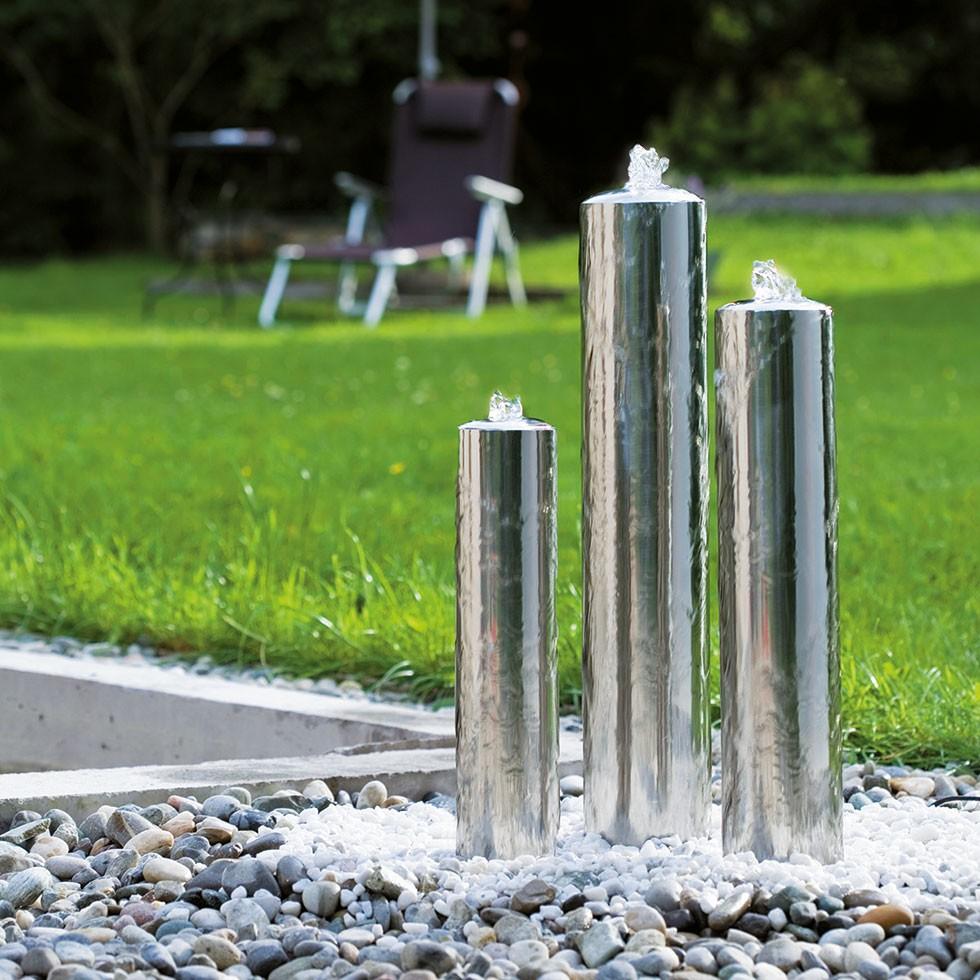 FIAP premiumdesign WaterPillar Art. Nr.  2601-Gartenteich-Gartendesign-Lichteffekt-LED-Edelstahl-Wasserspiel-Brunnen
